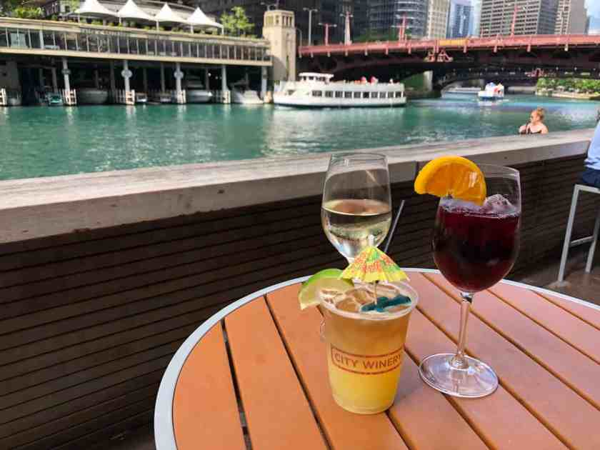 Table setting with wine and cocktails at the Chicago Riverwalk