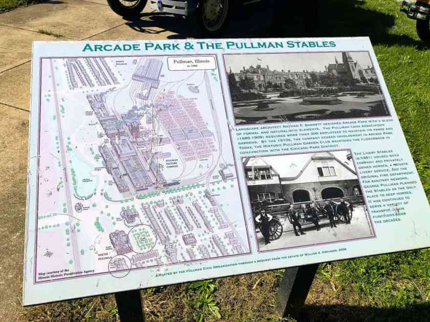 Information plaque about Arcade Park and Pullman Stables