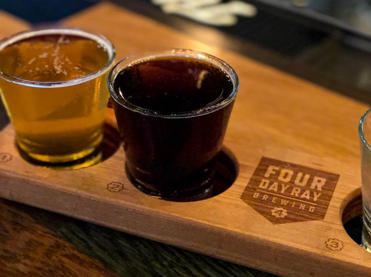 Samplings of beer at Four Day Ray Brewing in Fishers, Indiana