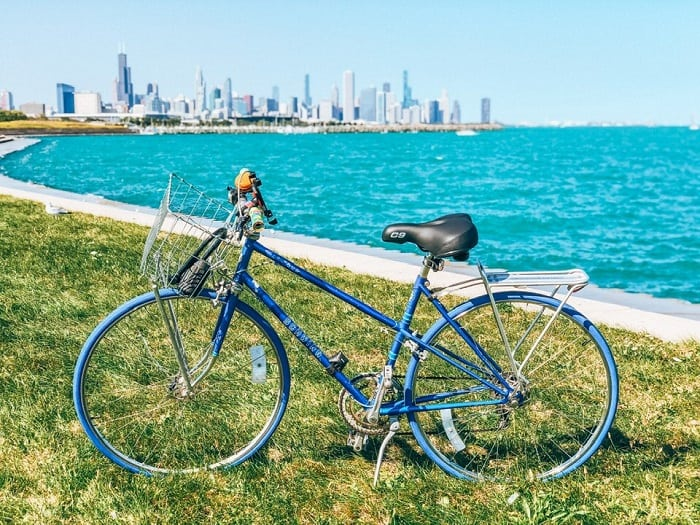 Bicycle in forefront of Chicago Skyline