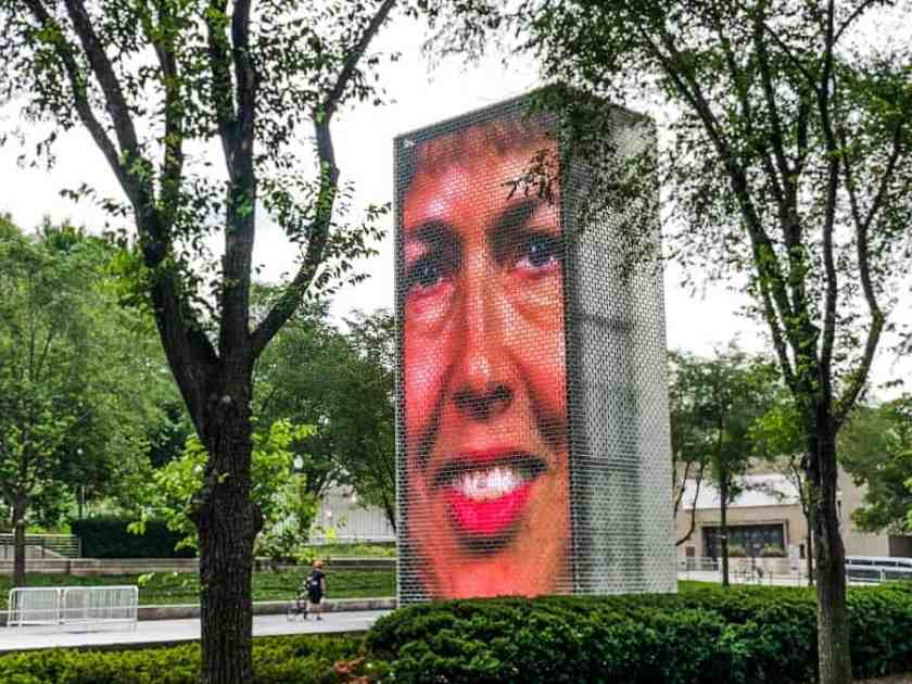 Woman's Face inside Crown Fountain at Millennium Park Chicago