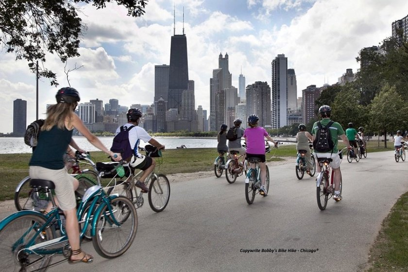 Bicyclists riding the Chicago Lakefront Path during a guided Chicago bike tour