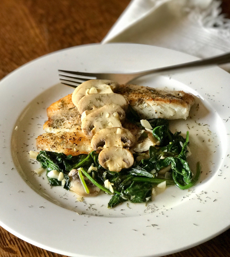 One Pan Tilapia with Mushrooms and Spinach