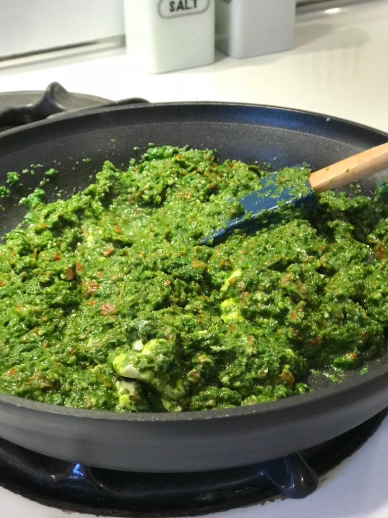 Spinach and Sun Dried Tomato Dip Simmering