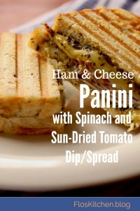 Ham and Cheese Panini with Spinach and Sun Dried Tomato Spread