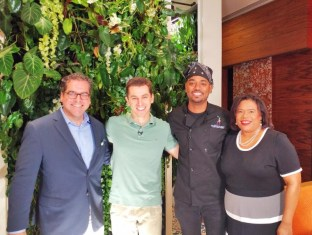 Matt Cooper of the Caribbean Hotel and Tourism Association, WPLG's Hunter Franqui, Chef Ralph Motta and Commissioner of Tourism Beverly Nicholson-Doty in Miami