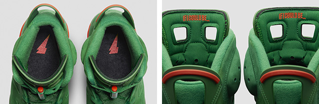 c9e8c9302bf Air Jordan VI actually worn by Michael Jordan in Gatorade's campaign was  given a green suede upper and bright orange detail. For this color accents,  ...