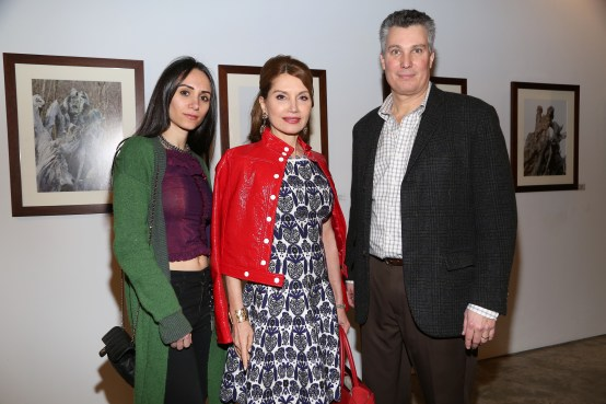 NEW YORK, NY - JANUARY 24: Elizabeth Shafiroff, Jean Shafiroff and Ted Barkhorn attend Cocktails To Benefit Global Strays And A Private Showing Of Modern Images Of The Natural World at Novo Locale on January 24, 2019 in New York. (Photo by Sylvain Gaboury/PMC) *** Local Caption *** Elizabeth Shafiroff;Jean Shafiroff;Ted Barkhorn