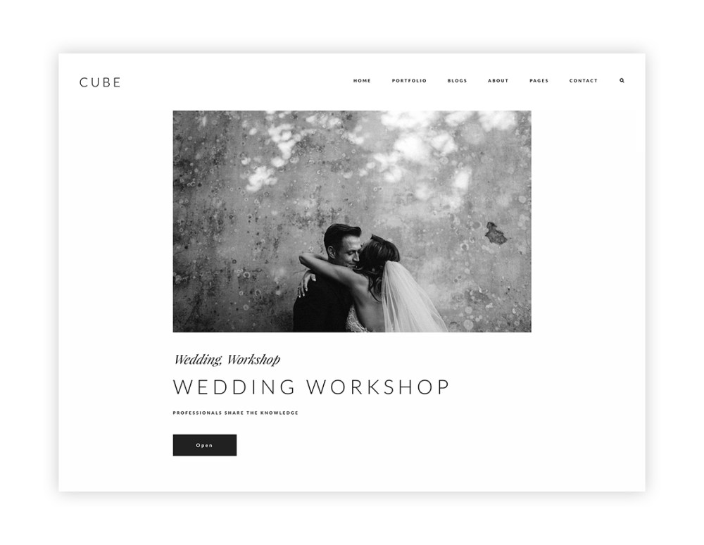 cube-wordpress website theme for photographers and videographers, blog listing