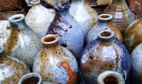 Wood fired clay bottles