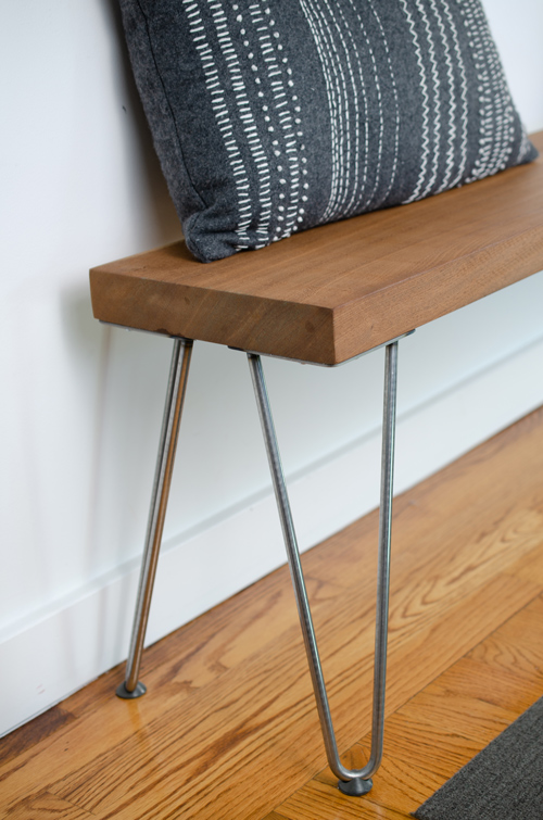 Close-up of Wood Bench Hairpin Legs with floor protectors