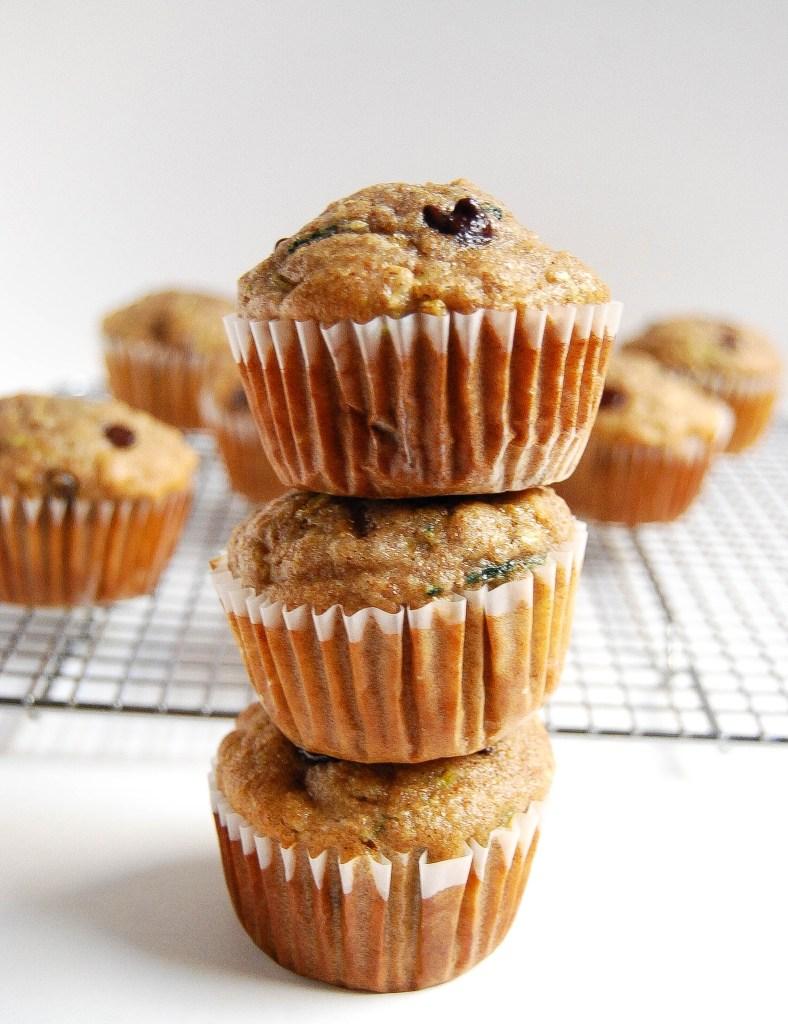 Healthy chocolate cherry zucchini muffins