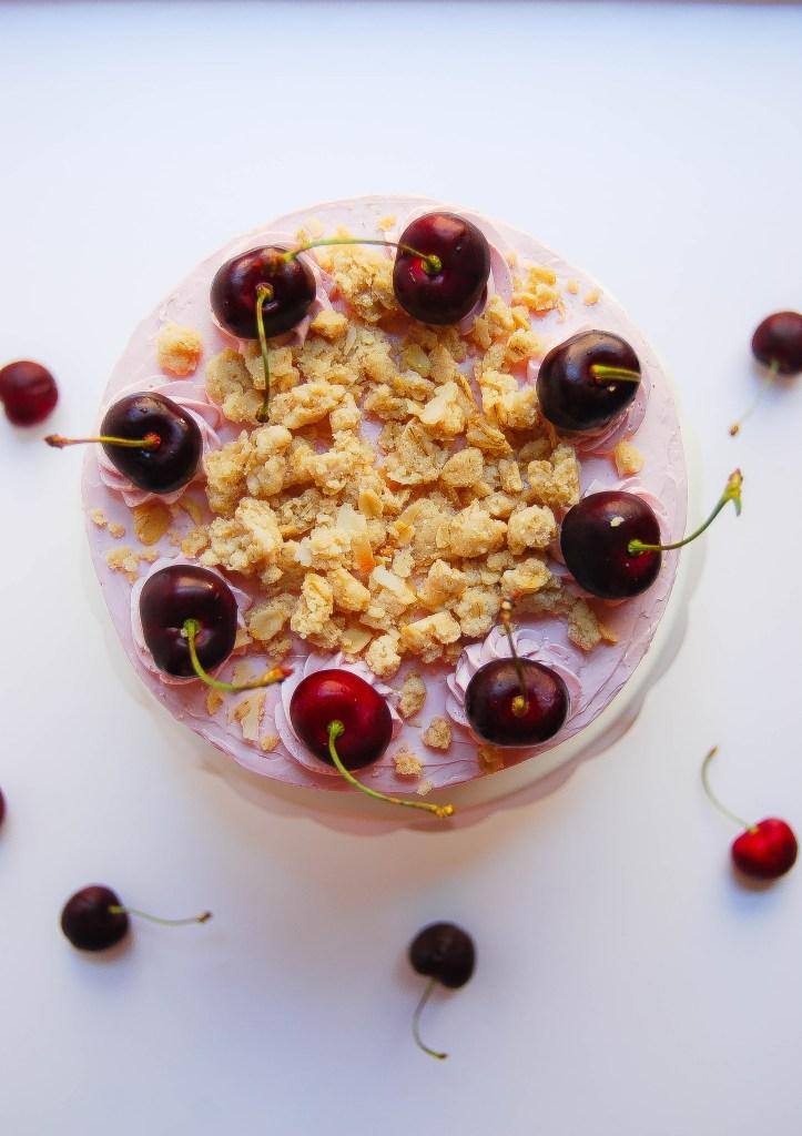 Cherry Crisp Layer Cake - Flour Covered Apron