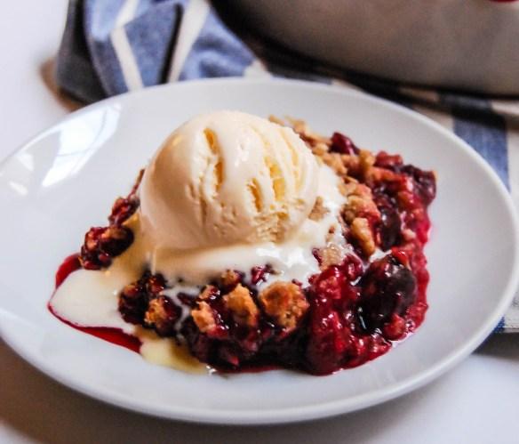 Cherry rhubarb crisp a la mode - Flour Covered Apron