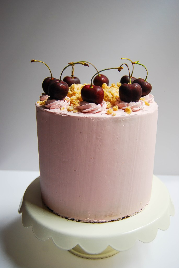 Cherry crisp layer cake with Swiss meringue buttercream - Flour Covered Apron