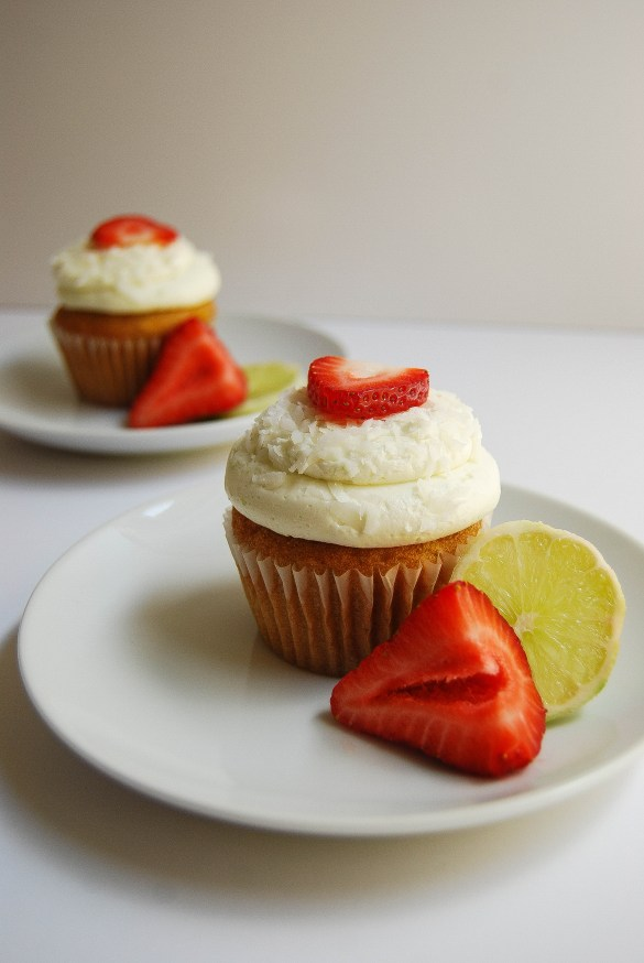 Strawberry Coconut Lime Cupcakes with Lime Buttercream - Flour Covered Apron