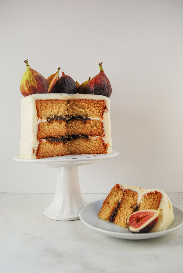 Honey Fig Cake with Goat Cheese Frosting