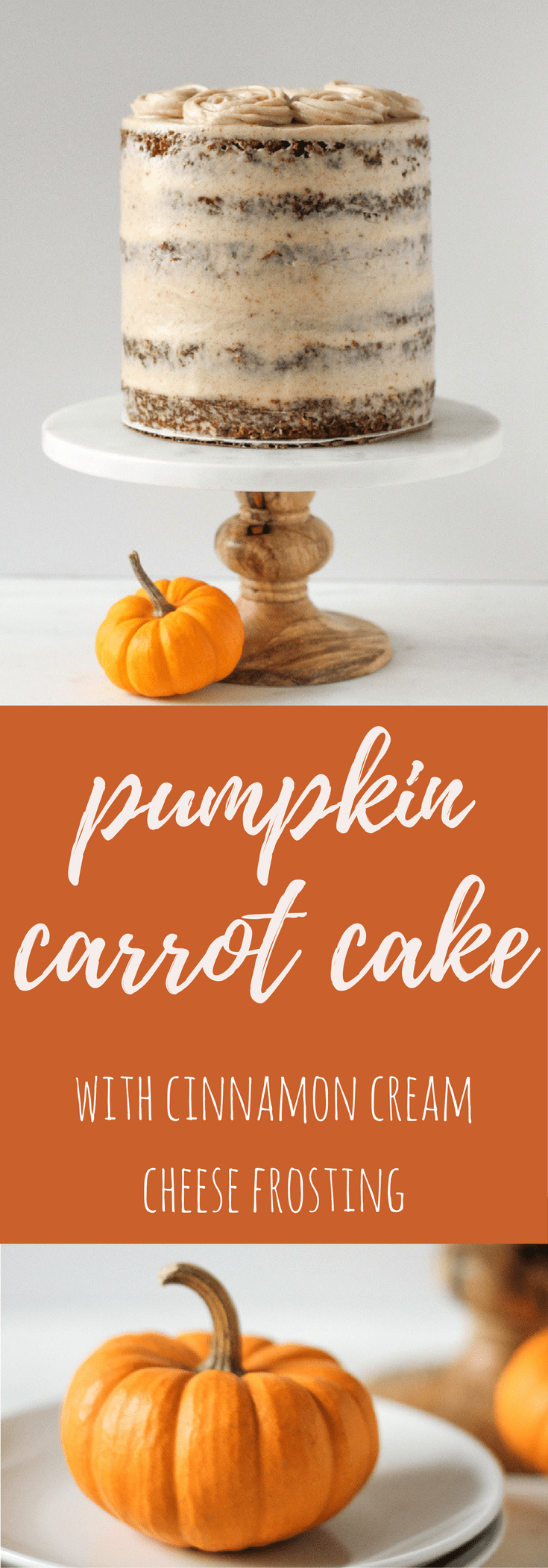 Pumpkin Carrot Cake with Cinnamon Cream Cheese Frosting - Flour Covered Apron
