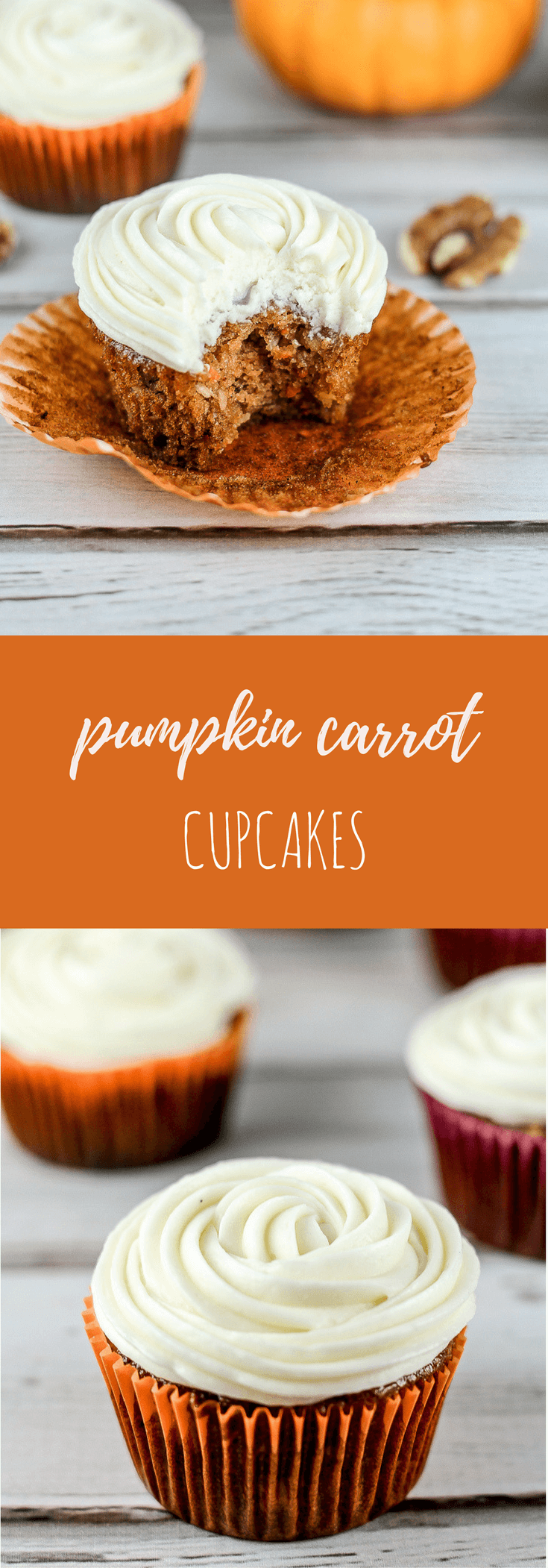 Pumpkin carrot cupcakes with cream cheese frosting