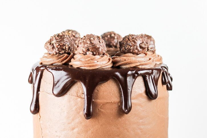 Chocolate hazelnut truffles are the perfect garnish for this Nutella chocolate cake