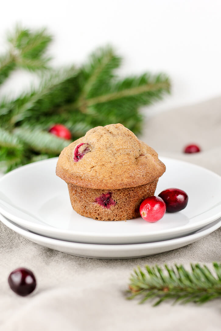 Cranberry Pear Muffins - wintry spiced muffins with cranberries and diced pears