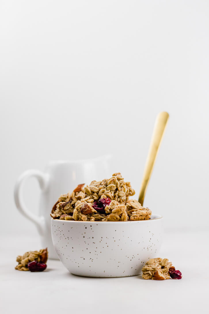 Dig in to this bowl of large-cluster cranberry almond granola - perfect for breakfast or a snack