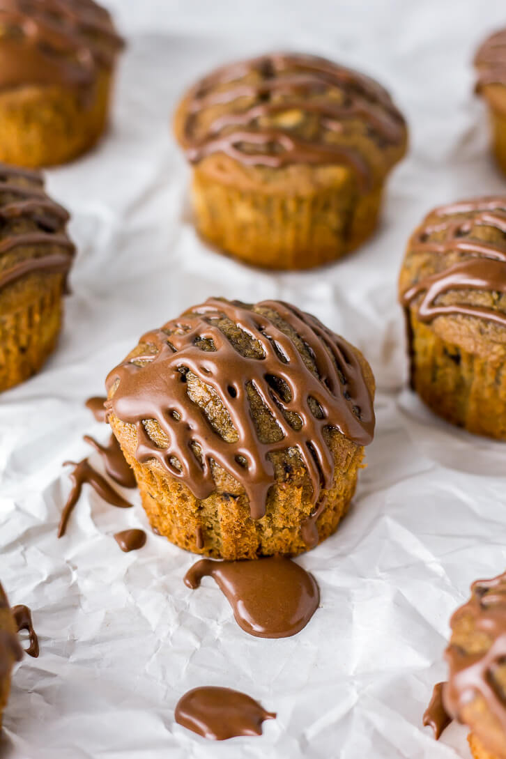 Espresso Banana Muffins with Chocolate Espresso Glaze