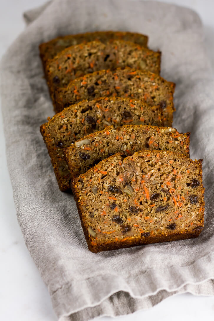 Slices of whole wheat carrot bread