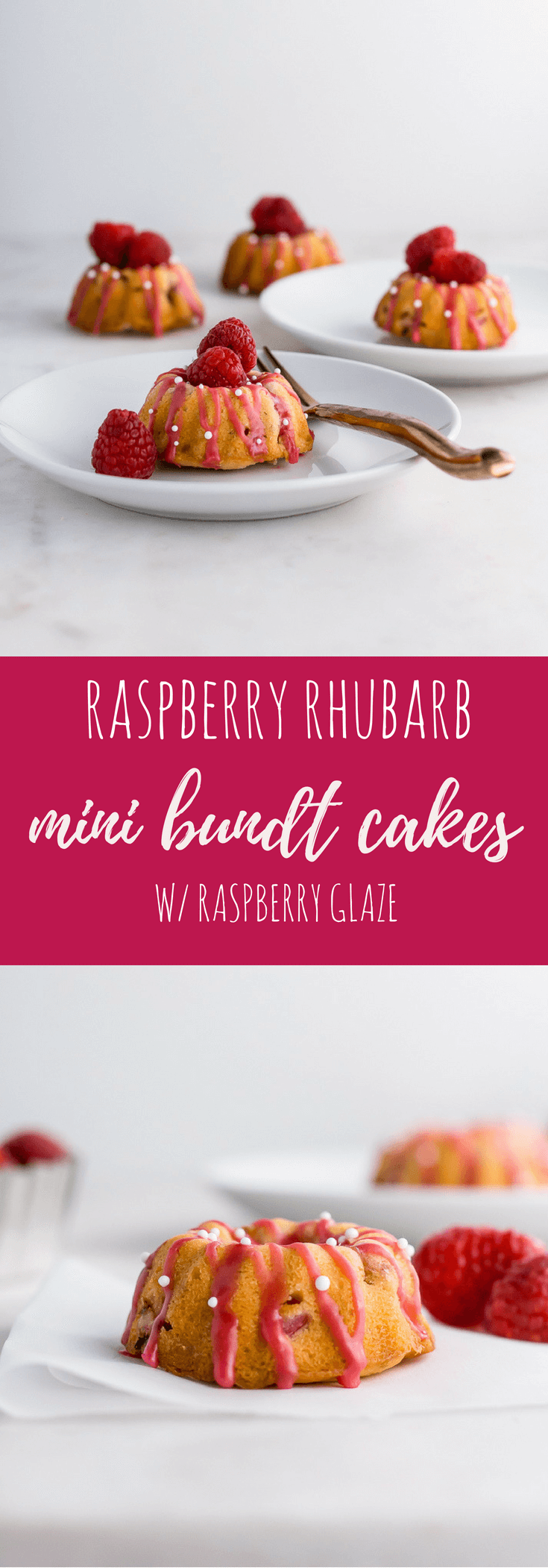 Raspberry Rhubarb Mini Bundt Cakes | Flour Covered Apron #brunch #bundt #cakes #raspberry #rhubarb #summer
