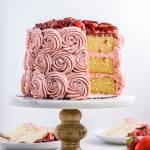 Vanilla Bean Layer Cake + Balsamic Roasted Strawberry Buttercream | Flour Covered Apron