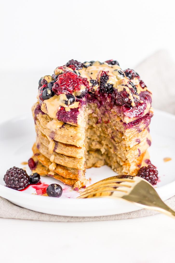 PB&J Banana Oat Pancakes | Flour Covered Apron | Vegan, gluten free, and refined sugar free