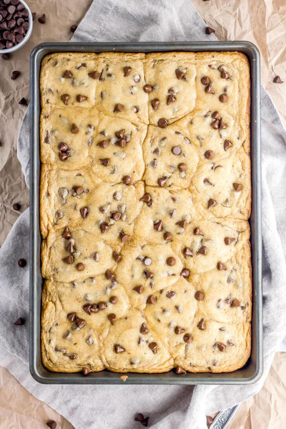 Warm Chocolate Chip Cookie Bar | Flour Covered Apron