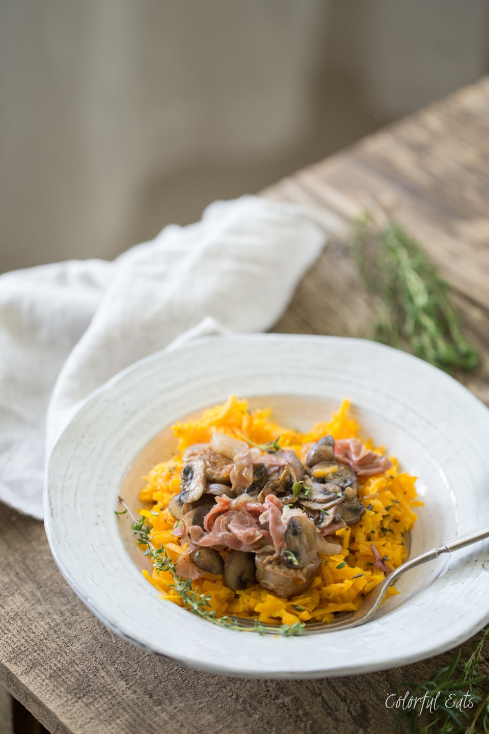 Herbed Butternut Squash Rice with Sausage and Crispy Prosciutto