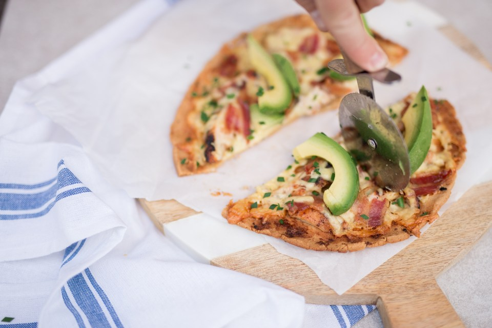 Grain Free Grilled Chipotle Chicken, Bacon, Avocado Pizza by Colorful Eats