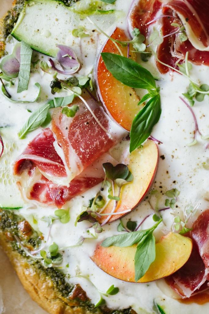 Gluten Free, Grain Free Pesto Peach & Burrata Pizza by Colorful Eats