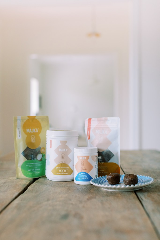 A display of Majka postpartum nutrition products.