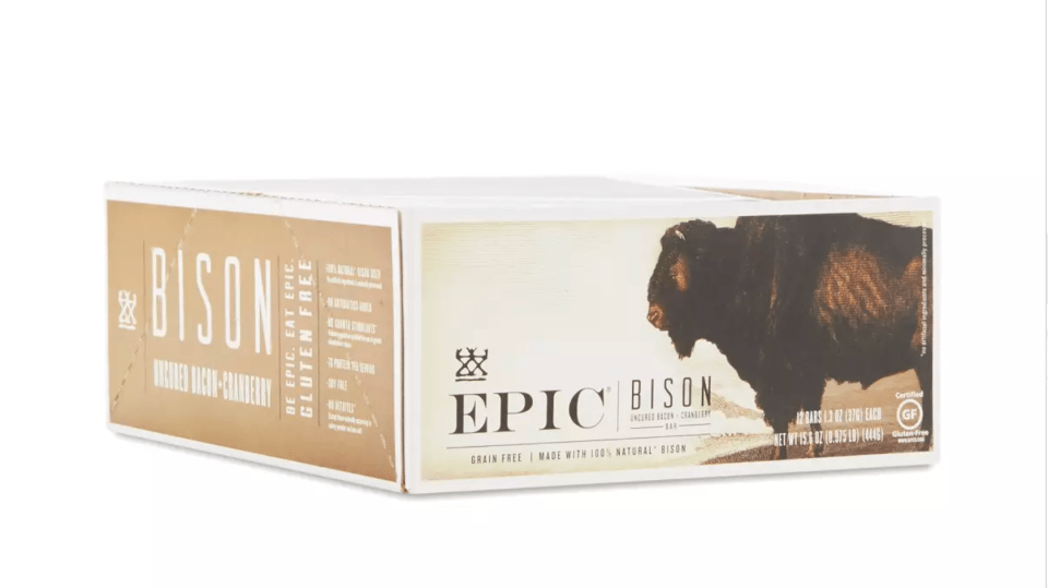 a box of epic bison bars
