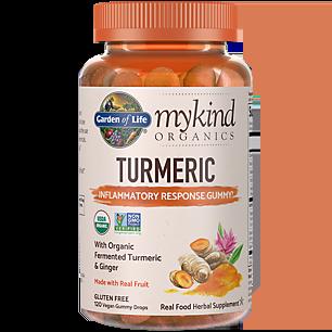 mykind Organics Turmeric Gummy - Inflammatory Response with Organic Fermented Ginger (120 Vegan Gummies)