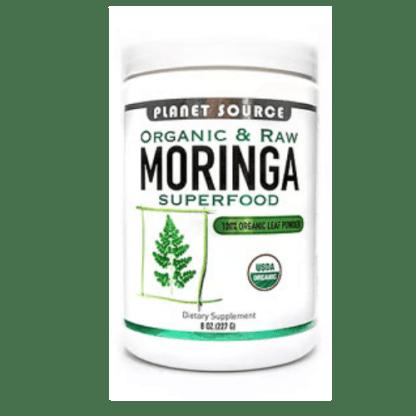 planet source raw organic moringa powder cannister