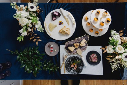 Tablescaping - Colorful Food and Stones