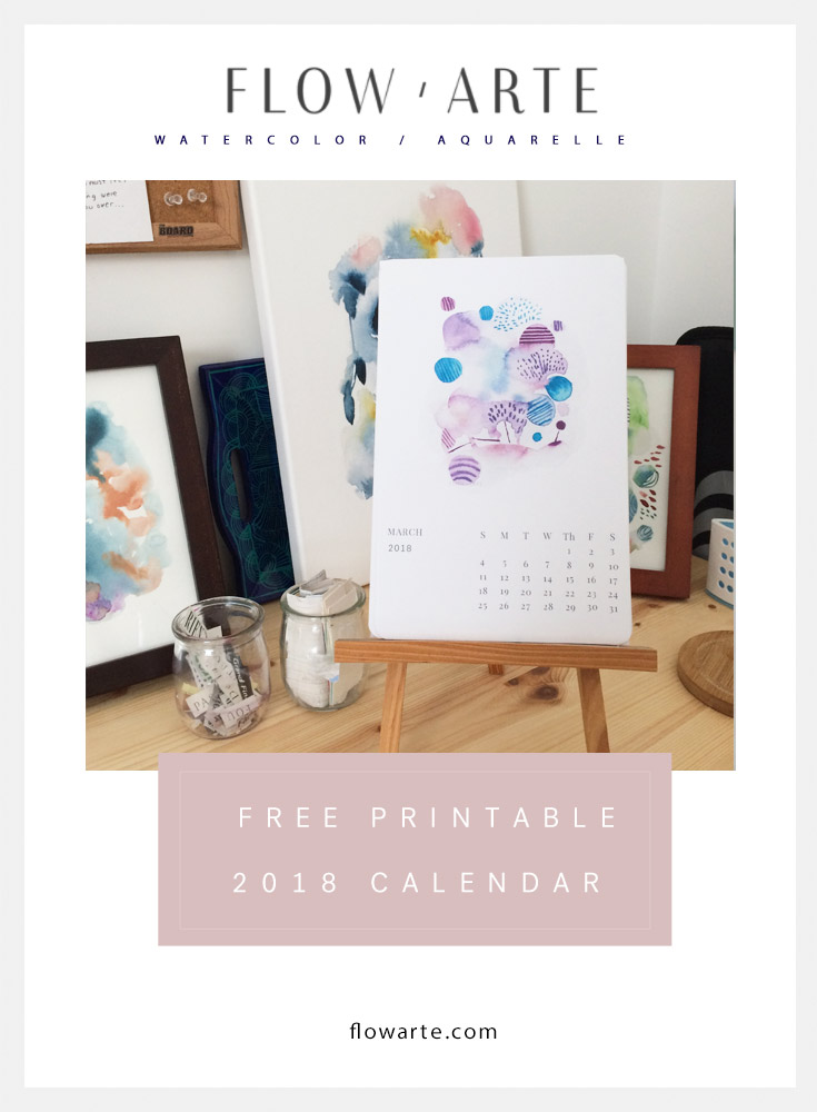 Free Printable 2018 Watercolor Calendar