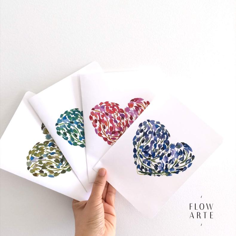 Printable Valentine's Watercolor cards