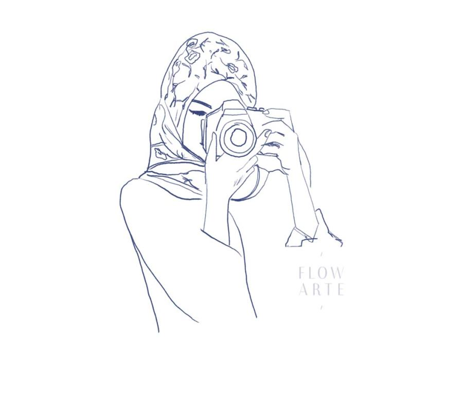 Sketch of a muslim girl taking a photo