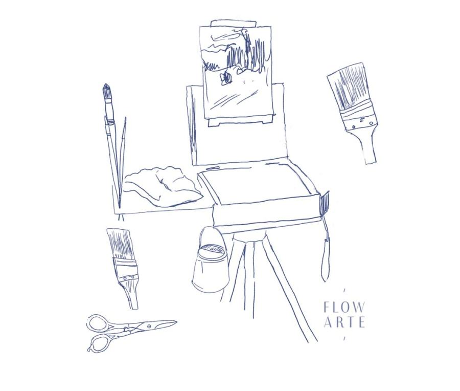 Sketch of easel and art materials