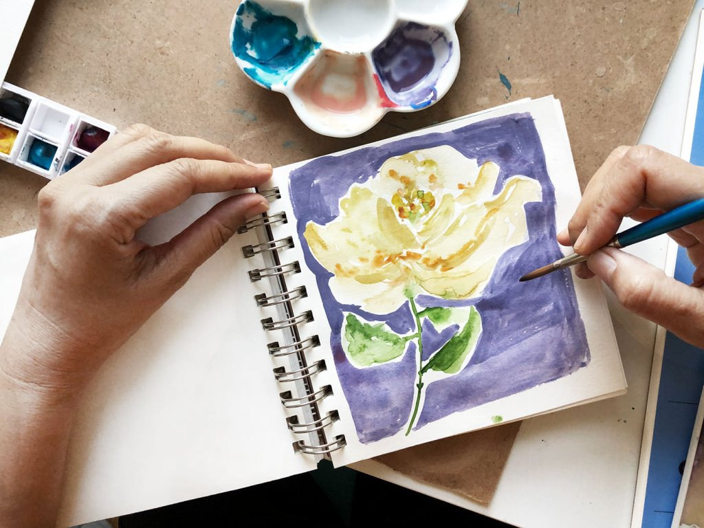 A yellow rose in a purple background, watercolor and gouache