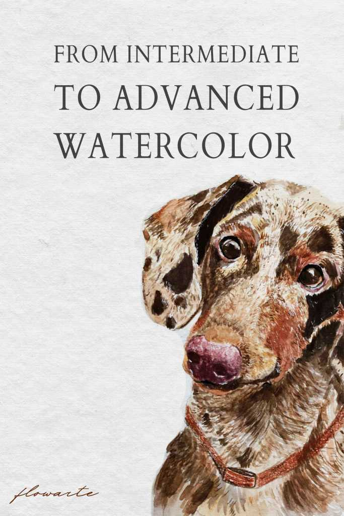 From intermediate to advanced watercolors - watercolor dog illustration