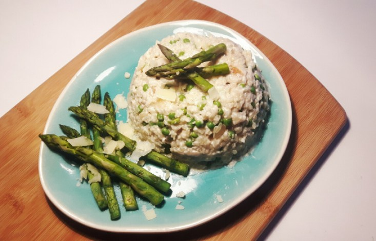 koolhydraatarme risotto met groene asperges