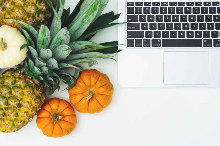 pumpkins and pineapple next to laptop