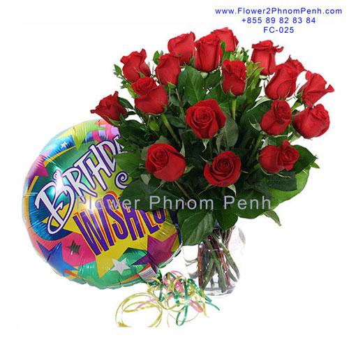 24 Red rose in glass vase