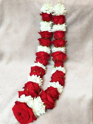 Red and White Wedding Garlands by Flower Busy